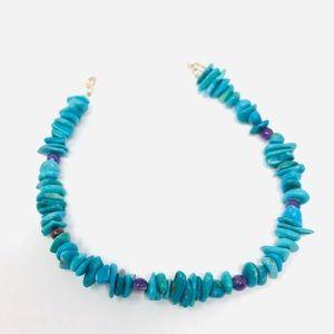 🆕 Turquoise, amethyst beaded sterling bracelet
